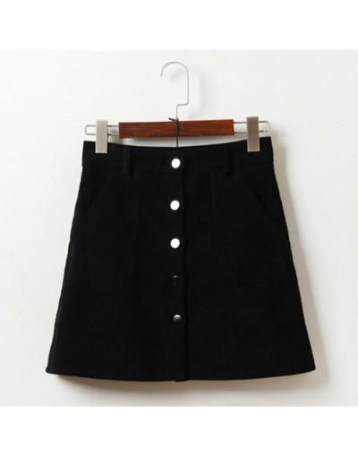 Spring Harajuku Office Lady School Women's Short Skirt Denim Style Button A-line Corduroy High Waist Pocket Mini Skirt - Hei...