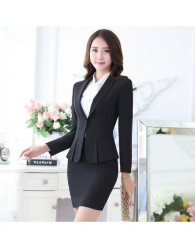 Formal Black Blazer Women Business Suits with Skirt and Top Sets Elegant Ladies Office Suits Work Wear Uniforms OL Style - B...
