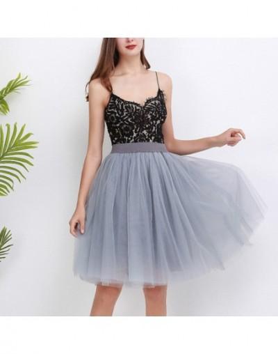 Quality 7 Layers Fashion Tulle Skirt Pleated TUTU Skirts Womens Lolita Petticoat Bridesmaids Midi Skirt - Gray light green ...