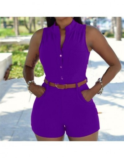 Women's Sexy Bodysuits Knitted Sleeveless V-Neck Jumpsuit Bodycon Romper With Pocket Slim Short Cotton Overalls Playsuit - S...