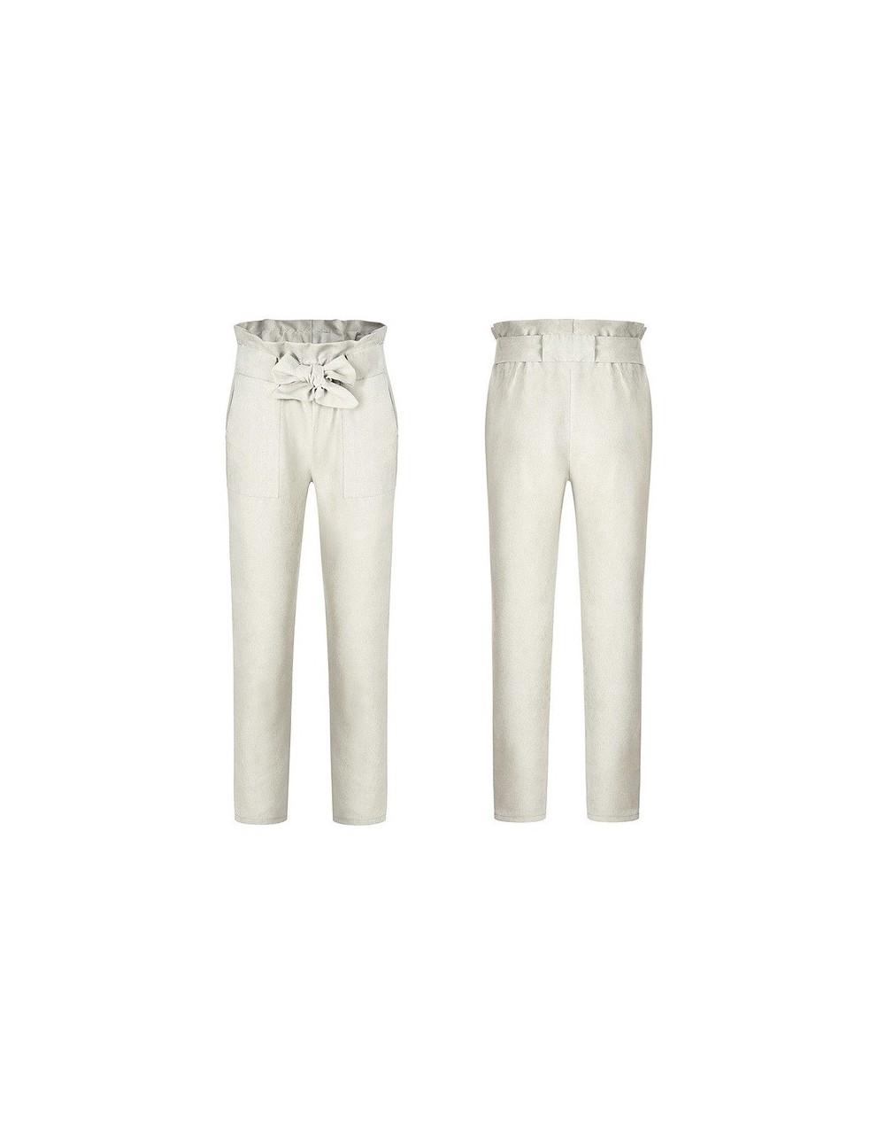 Fashion Women's High Waist Drawstring Elastic Long Pants Casual Pencil Trousers - White - 4O3015881449-9