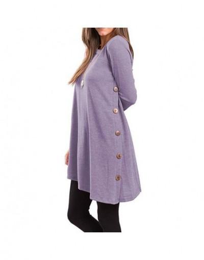 Dress Female Women's Long Sleeve Round Neck Button Side T Shirts Tunic Dress Short Dress Mini Casual Winter Dresses 2019 - L...