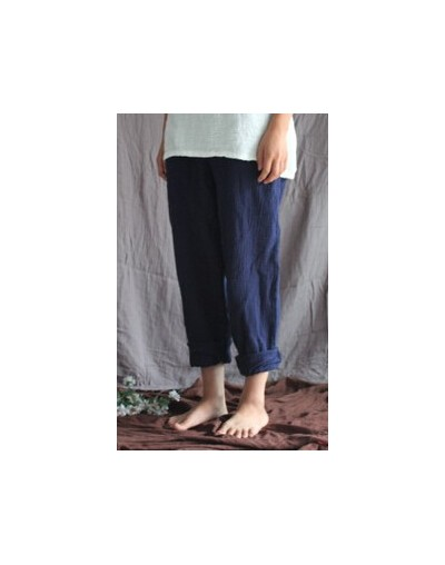 New 2018 Spring Autumn Women Loose Harem Pants Solid Color Elastic Waist Linen Cotton Casual Trousers For Female - navy blue...