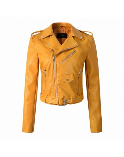 2019 New Fashion Women Autumn Winter Motorcycle Faux Leather Jackets Lady Rivet Biker PU Zipper Outerwear Coats - 8301 Yello...