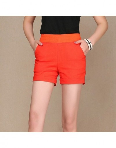 2019 Shorts for women summer Cotton and Linen Shorts Straight Loose Thin Ladies Candy Color Trousers large Plus Size 5XL - O...