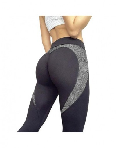 Black Heart Shape Leggings Women PU Leather Patchwork Skinny Pants Women Leggins Push Up Workout Fitness Leggings - gray - 4...