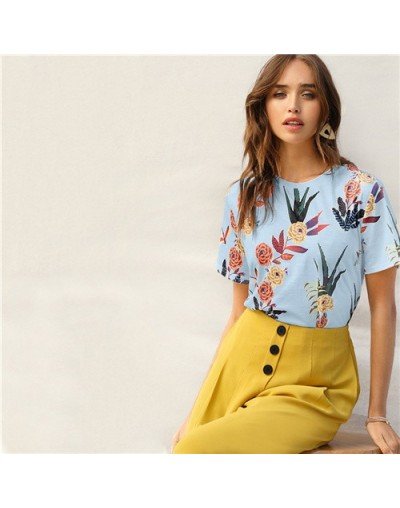 Floral And Plants Print Womens Shirts Summer Short Sleeve Casual Basic Streetwear Pullovers White T Shirt Tops - Blue - 4K30...