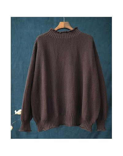 Women Pullover Sweaters Knitted Cotton 2019 Autumn New Turtleneck Long Sleeve Casual Women Cloths Sweaters - Coffee - 4M3060...