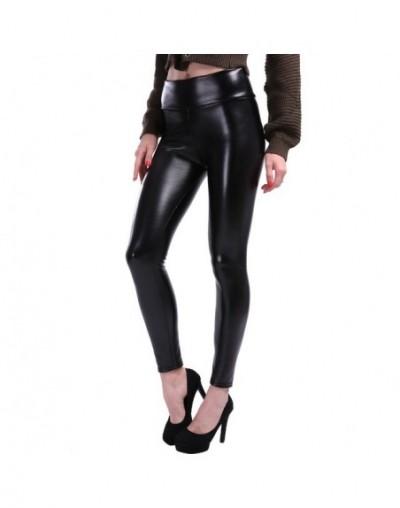 Women Plus Size Leather Leggings Women High Waist Leggings Stretch Slim Black Legging Fashion PU Leather Pants Women - Black...