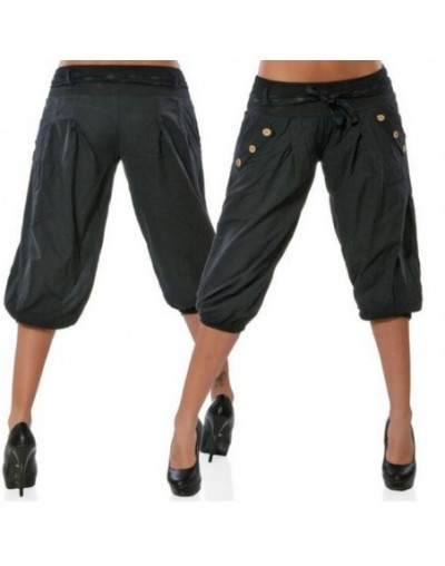 Women Summer Casual Cropped Trousers Pant Elastic Waist Ice Silk Harem Pants Large Size Loose Baggy Harem Pants - Black - 4C...