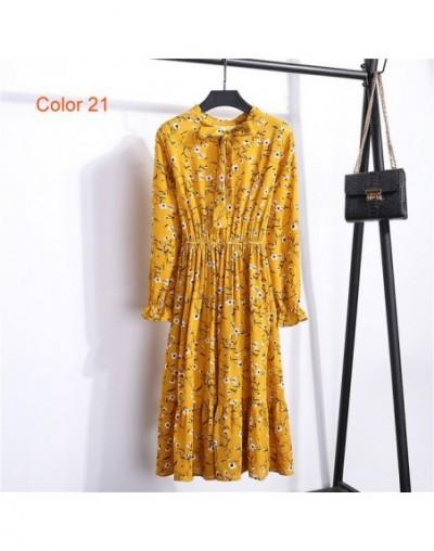 Chiffon High Elastic Waist Party Dress Bow A-line Women Full Sleeve Flower Print Floral Bohemian Dress Female Vestido Plus S...