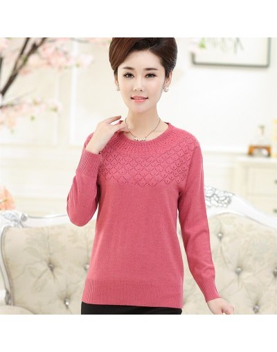 Spring And Autumn Long Sleeve Sweaters Women Hedging O Neck Loose Knitwear Mother Solid Tops Pullover Sweater For Women - Pi...