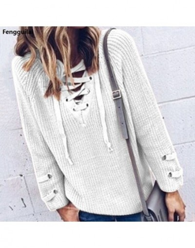 Women V Neck Knitted Lace -Up Sweater Striped Bandage Cross Ties Pullover Loose Casual Long Knitwear Jumper Top Sweter Mujer...