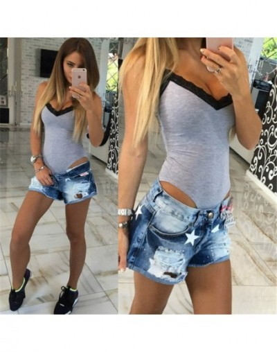 2019 Summer Rompers women Jumpsuits Sexy stitching Patchwork V-neck sling 1-piece Fashion Lace Romper Skinny Bodysuits For W...