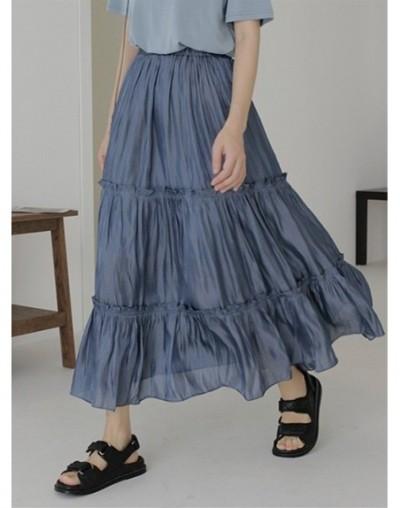 High Quality Chic Summer Skirts Women Long Thin Pleated Skirts Elastic Waist Fashion High Waist Ruffles Skirt - Beige - 4Q41...