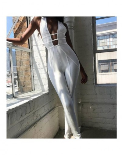 White Elegant Jumpsuits Ladies 2018 Fashion Full Length Nightclub Autumn Hollow Out Rompers Evening Party Clothing - White -...