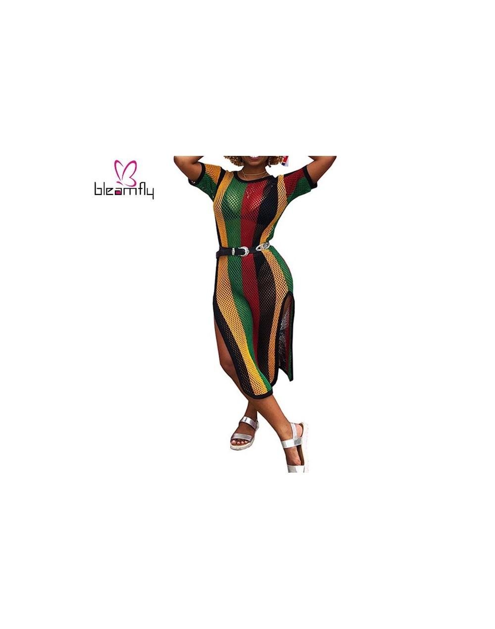 2018 New Design Popular Casual Style Women Dress Striped Hollow Out O-neck Short Sleeve Midi Dress Female Slipe Vestido - 2 ...