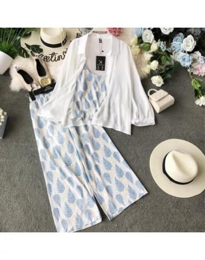 2019 new fashion women's chiffon Cardigan Sunscreen coat+Leaf print strap + Elastic Waist Leaf print Nine pants Three Piece ...