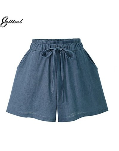 New 2019 Summer Thin Cotton Linen Women Shorts Plus Size M-6XL Casual Loose Elastic High Waist Black Khaki Bowtie Shorts - B...