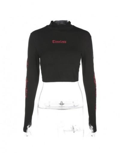 Fashion Long Sleeve Gothic Letter Print Cropped t shirt 2018 Autumn Black Stand Collar Streetwear Crop Top tshirt Tops - Bla...