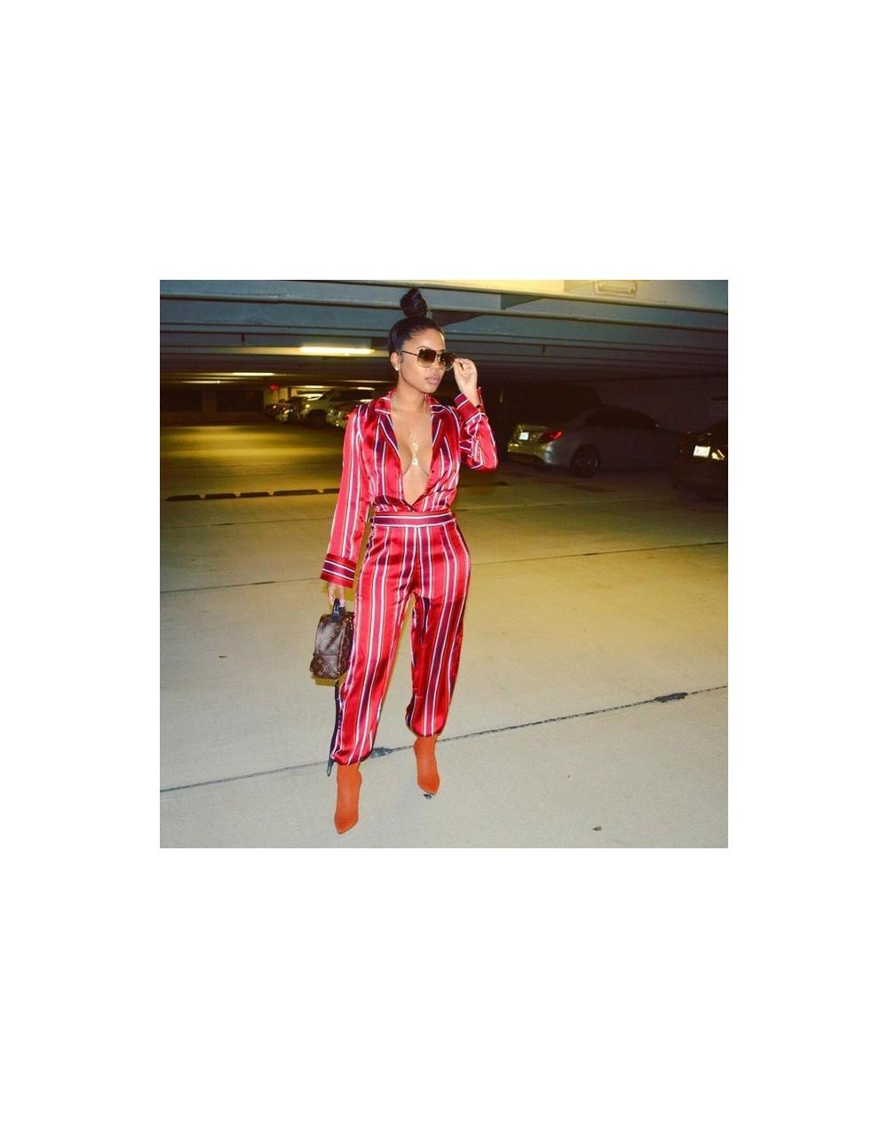 Fashion Striped Shirt Jumpsuit Women Sexy Turn Down Collar Plunging Deep V Neck Long Sleeve Wide Leg Rompers Overalls - Red ...