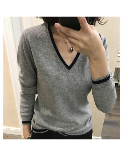 2019 High Quality Cashmere Sweater Women Autumn Pullover Solid Knitted V-neck Sweater Outerwear Tops Female Fashion Sweater ...