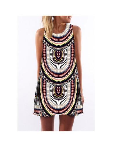 Robe Femme Ete 2018 Dress Women New Sleeveless Mini Party Dress Digital Printing Summer Casual Summer Chiffon Dresses - Yel...