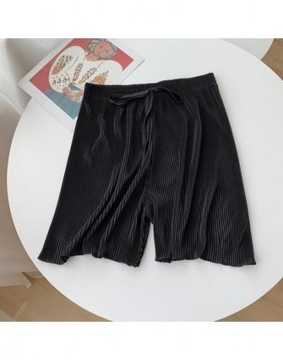 Women's Beach Wide Leg Shorts Elastic High Waist Drawstring Solid Color Summer Casual Pleated Shorts!! - Black - 5I111189281...