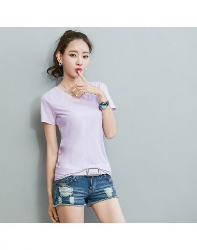 cotton t shirt women tops casual v-neck tee shirt femme white solid t shirt women tshirt summer funny t shirts 2019 - Lavend...