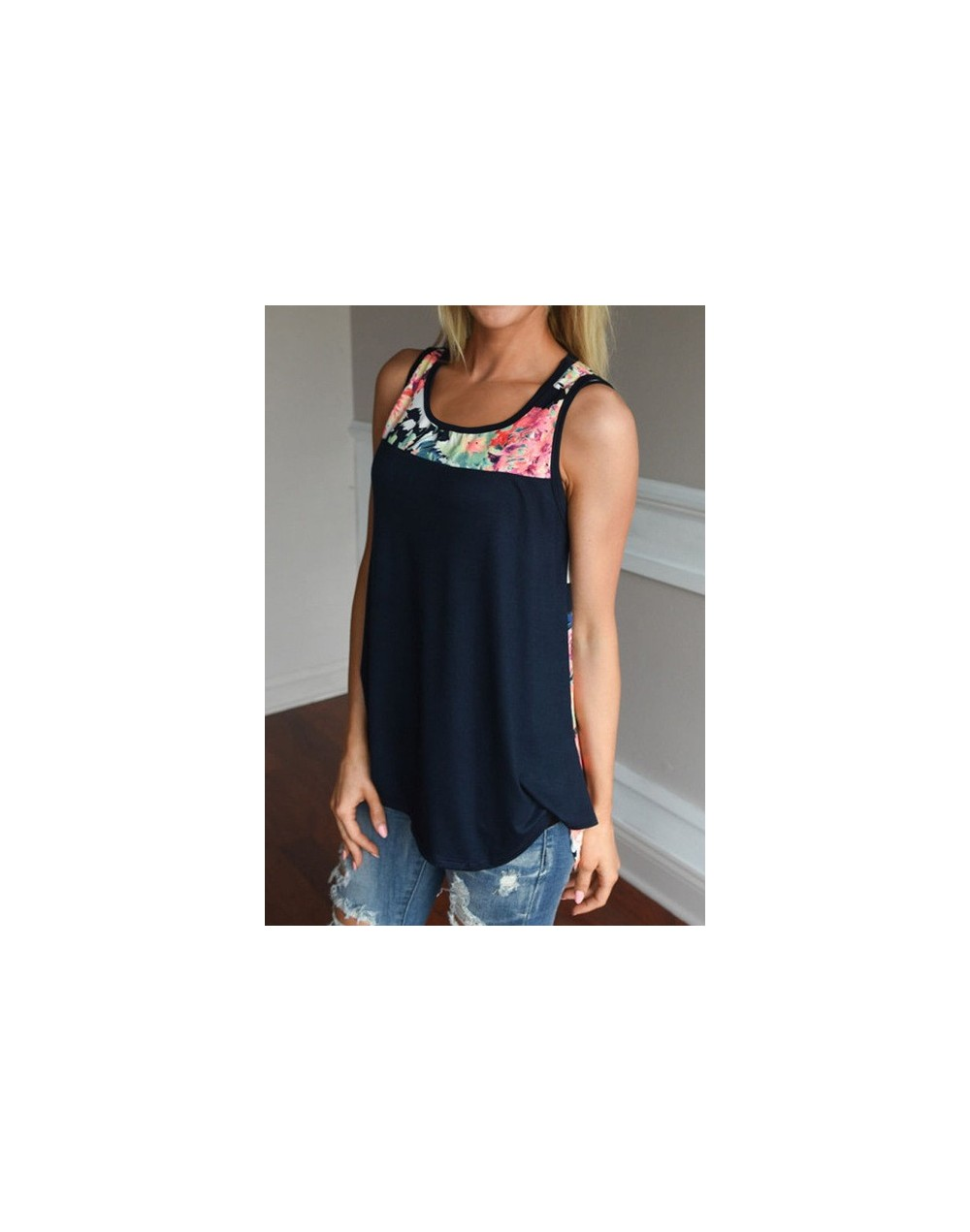 2019 Women Floral Splicing Sleeveless Vest Casual O-Neck Tshirt Female Summer Loose Long Tank Top Ladies Girl Clothes - blue...