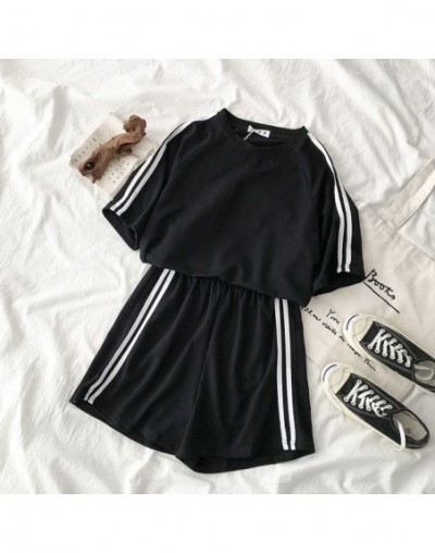 Casual Tracksuit Two Piece Outfits Side Striped Pant Set Summer Short Sleeve T-shirt + High Waist Shorts Purple Matching Set...