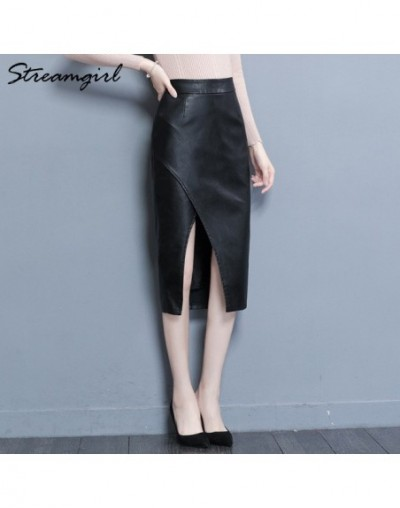 PU Leather Skirt Women High Waist Midi Skirts For Women Leather Skirt Plus Size Skirts Pencil Bodycon Office 2019 - Black - ...