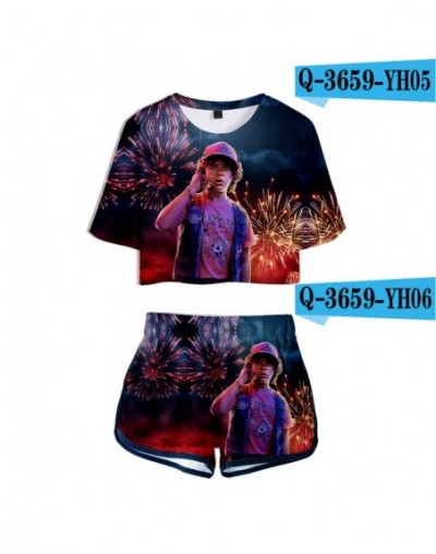 Stranger things 3D Print Sexy Two Piece Sets Women Personality Stranger things T Shirt+Shorts Women Cute Sets - 3D - 5211122...
