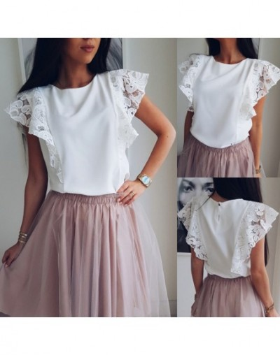 New Summer Women Tops Chiffon Lace Casual Shirt Ladies Sleeveless O-neck Loose Blouse White Tops - 4A3901593706
