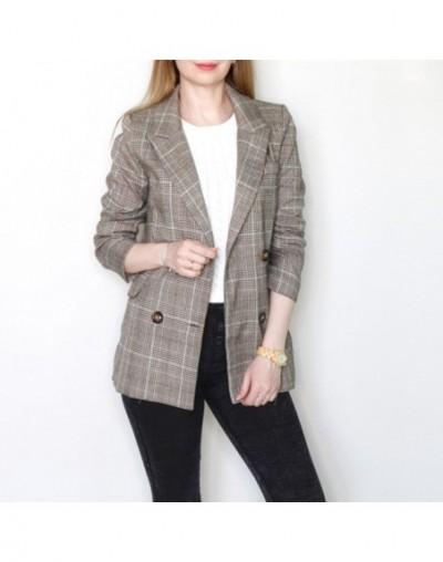 Female Plaid Retro Suits Coat Vintage Bouble Breasted Women Blazers Autumn Pockets Jackets Office Lady Feminino Outerwear 20...