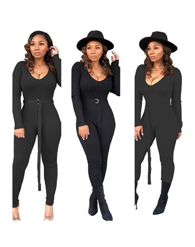 Solid Ribbed Knitting Skinny Jumpsuit with Belt Women Sexy Deep V Neck Long Sleeve Casual Romper Club Overall Tracksuit - bl...