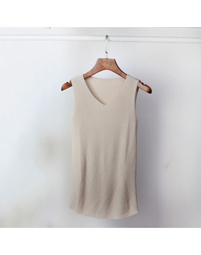Summer Solid Slim Tank Tops Women Sleeveless Cotton Knitting Tanks Camis Tees For Woman 2018 Spring Autumn Knitted Vest - Kh...