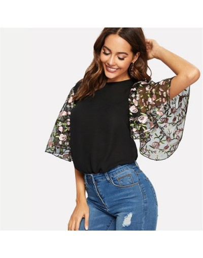 Floral Embroidery Flutter Sleeve O Neck Women Tops And Blouses 2019 Summer Casual Keyhole Back Half Sleeve Ladies Tops - Mul...