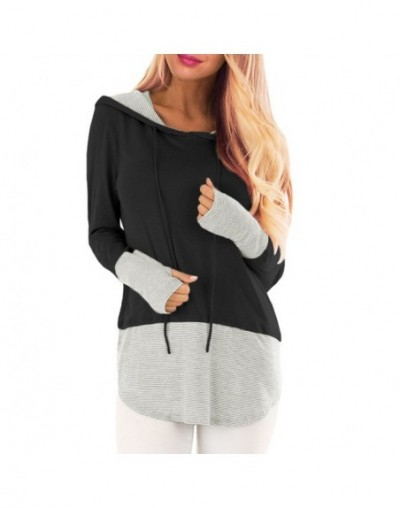 Women Spring Hoodies Long Sleeves Hooded Pullover Patchwork Striped Loose Tops LF88 - Dark Grey - 4S4162233293-2