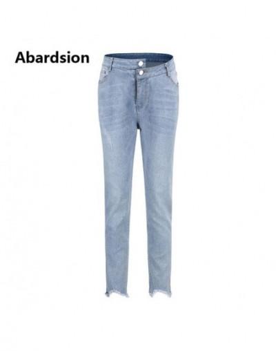 High Waist Jeans Women Casual Denim Pencil Pants Skinny Jeans Woman Blue Tassel Slim Push Up Jean - Light Blue - 484150957956