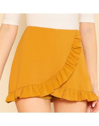Ruffle Trim Overlap Mini Shorts 2018 Summer Ginger Zipper Fly Elegant Skirt Shorts Mid Waist Zipper Plain Women Shorts - Gin...