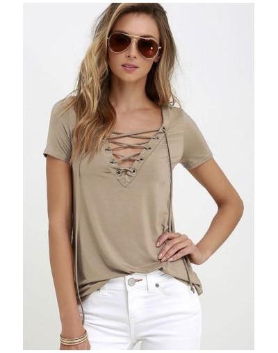 Fashion Casual Womens Pullover T Shirt Short Sleeve Cotton Tops Tee Shirt New - Khaki - 4U3033051626-2