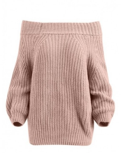 Slash Neck Wide Shoulder Sexy Elastic Knitting Pullover Female Long Sleeve Knitted Sweater Women Jumper Pull Knit Shirt - Pi...