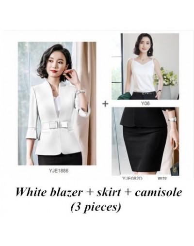 office clothes 2019 Spring summer women skirt suits egelant ladies formal wear two piece skirt set uniform black - White 3 p...