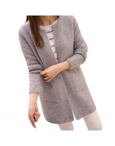 2019 Autumn Women Cardigan Loose Knitted Sweater Women Long Sleeve Casual Tops Outwear Warm Coat T6 - Gray - 4B3032657680-3