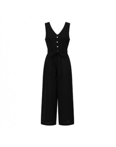 2019 Women Jumpsuits Red Solid V-neck Summer Playsuits Sexy Casual Sleeveless Pockets Work Office Overalls Wide Leg Pants GV...