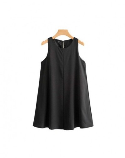 women elegant solid mini dress O neck sleeveless female casual straight summer dresses vestidos QC348 - black - 4S4147600943-2