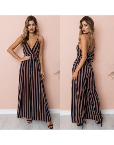 Women Fashion Casual Boho Floral Vacation Jumpsuit Long Jumpsuit Sleeveless Loose Pants - Brown - 4Q3074307278-2