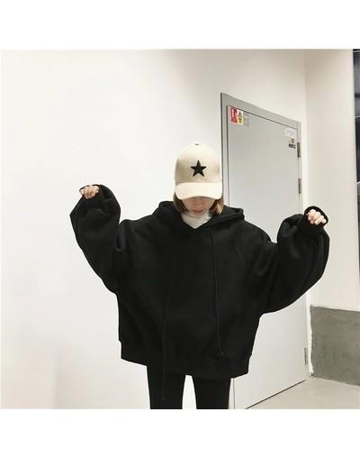 Harajuku Woman Casual Sweatshirts Hoodies Autumn Korean Style Ulzzang Solid Velvet Hooded Sweatshirt Women Long Sleeve Hoodi...