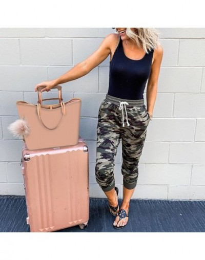 Women Casual Mid Waist Pants Camouflage Print Lace-up Cropped Pant Streetwear Camo Joggers Trousers Women pantalones mujer H...